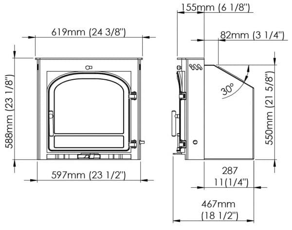 hunter telford 5 inset log burner dimensions
